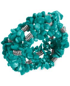Kenneth Cole New York Silver-Tone Semi-Precious Turquoise Chip Bead Stretch Bracelet