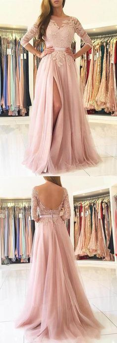 Elegant Prom Dresses,Half Sleeves Prom Dress,Pink Prom Dresses,Tulle Prom Dress,Slit Evening Dress,A Line Prom Gown #pink #promdress #tulle #lace #slit #aline