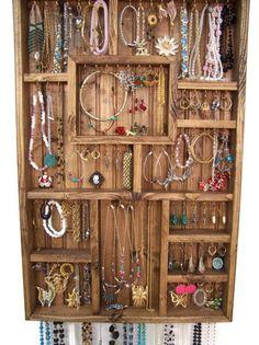 Jewelry Display Case, Handmade Wood Wall Art