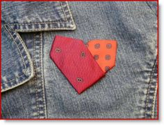 necktie_heart pin - I love this idea. I should do this with the ends of my grandfathers ties! Tie Crafts, Crafts To Make, Fabric Crafts, Sewing Crafts, Old Neck Ties, Old Ties, Valentine Heart, Valentines, Necktie Quilt