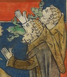 False prophets: yu'd think no one would bother after the first few frogs... (Revelation 16:13), Queen Mary Apocalypse, 14th century, London.  British Library, Royal MS 19 B XV fol.  30v
