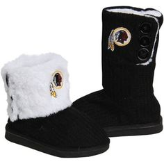Washington Redskins Ladies Knit High End Button Boot Slippers - Black