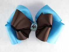 Turquoise Chocolate Brown Fleur De Leis Hair Bow - $9.60