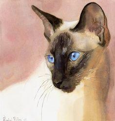 Siamese watercolor by Rachel Parker http://ego-alterego.com/2013/06/siamese-watercolor-by-rachel-parker/#.UcomReBXBOF