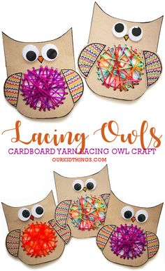 Owl Crafts, Animal Crafts, Craft Stick Crafts, Yarn Crafts, Fall Crafts For Kids, Craft Projects For Kids, Toddler Crafts, Art For Kids, Kids Crafts
