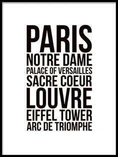 Paris, plakat. Sort og hvid plakater og posters med citater og tekst. www.desenio.dk