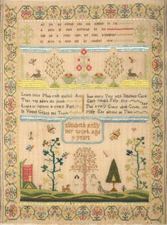 English Needlework Sampler Wrought By Elisabeth Kelly Aged Nine Years (Sold for $2,200
