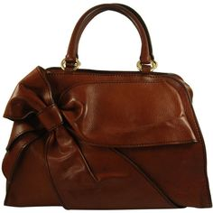 Large Valentino Brown Leather Stylized Gladstone Handbag ❤ liked on Polyvore featuring bags, handbags, shoulder bags, purses, accessories, bolsas, genuine leather handbags, genuine leather shoulder bag, leather hand bags and brown leather purse