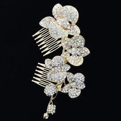 Gold Tone Bridal Orchid Flower Hair Comb Accessories Rhinestone Crystal ** Continue to the product at the image link. Bridal Hair Flowers, Bridal Hair Pins, Flower Tiara, Hair Comb, Tiara Hair, Hair Jewelry, Fashion Jewelry, Hair Tools, Crystal Rhinestone