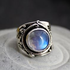 rainbow moonstone + sterling woodland ring