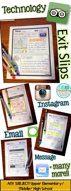 Technology exit slips - perfect for upper elementary and middle school! Any subject! Application of the latest social media apps. Middle School Classroom, Middle School Science, Science Classroom, Classroom Activities, High School, Classroom Ideas, Classroom Door, Teaching Technology, Educational Technology