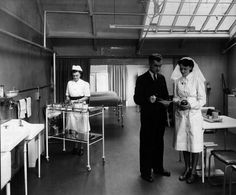 Circa 1948: Image shows medical staff working within the Collins Health Centre. The Health Centre was based in the factory and ensured the health of the workforce. (HarperCollins Publishers Historical Archive)