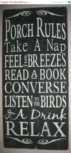 ON SALE Porch Rules Primitive Subway Art by CottageSignShoppe, $67.50