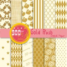 Gold digital paper 'Gold Rush' 12 gold digital by GemmedSnail, $4.80