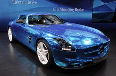 #Mercedes-Benz SLS AMG Electric Drive put a spin on the conventional electric car. Powered by 4 electric motors, the vehicle can produce 740 horse power going from 0-62mph in 3.9 seconds