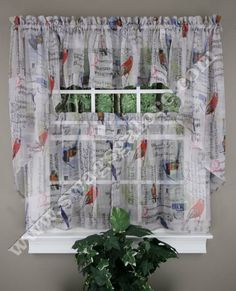 Kitchen Sheers Country Valances 16 Best Sheer Curtains Images Tweet Is A Themed Styles Curtain Song Birds Letters Postage Stamps Musical