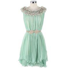 3D Flower Trim Pleated Frilled Hemline Dress ($63) ❤ liked on Polyvore
