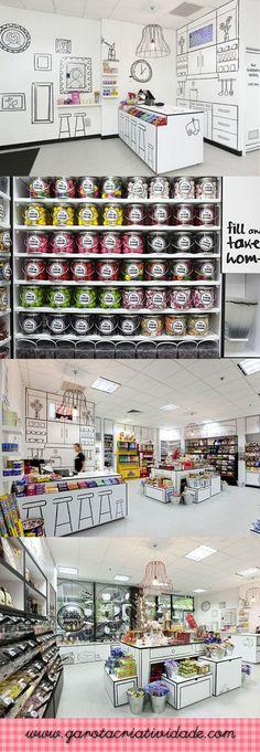 Confira mais ideias e decorações criativas em:  http://www.garotacriatividade.com/2011/11/27/the-candy-room-decoracao-criativa-na-loja-de-doces/