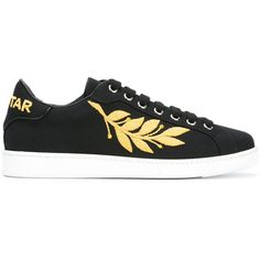 Dsquared2 embroidered trainers (1,035 CAD) ❤ liked on Polyvore featuring men's fashion, men's shoes, men's sneakers, black, mens black leather shoes, mens metallic shoes, mens lace up shoes, mens black leather sneakers and mens leather lace up shoes