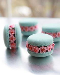 Cherry blossom macarons #cherryblossom #pink #pinkflowers #love #macaronblossoms #macarons #macaron #macaronrose #flowermacarons…