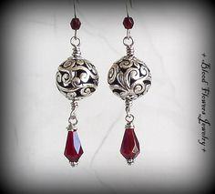 ANNABELLE Neo-Victorian Gothic Pewter Filigree Drop Earrings