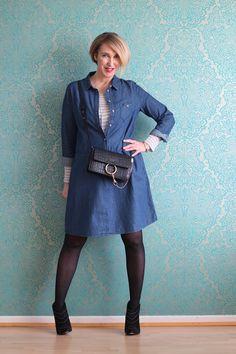 A fashion blog for women over 40 and mature women  Denim-Dress: Promod Booties: Anine Bing Bag:Chloe Faye