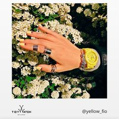 Great style in full bloom for Spring! Yellow is probably her favorite color, right?  #TWlove #ToyWatch #Fluo #yellow #watch #watches #style #fashion #accessories #forher #spring #flowers #daisy #nails