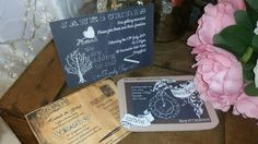 Rustic Chalkboard And Postcard Style Wedding Invitations. Pack Of 20
