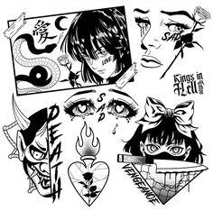 Kritzelei Tattoo, Grunge Tattoo, Tatoo Henna, Doodle Tattoo, Spooky Tattoos, Dope Tattoos, Black Ink Tattoos, Body Art Tattoos, Tattos