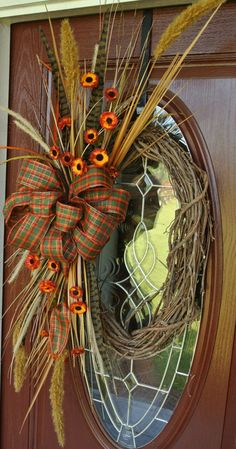 Feathers and Wheat Fall Harvest Grapevine Wreath