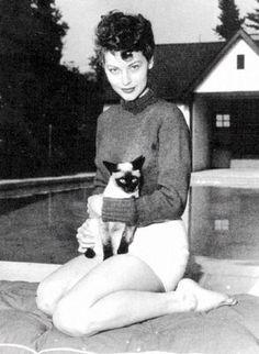 Ava Gardner and cat.