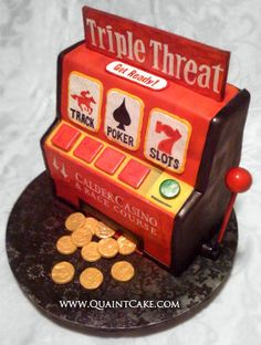 Slot machine cake - sylvia, here's the one we need to make for charlie # Casino Party, Casino Theme, Dinner Recipes For Kids, Healthy Dinner Recipes, Healthy Foods To Eat, Healthy Snacks, Vaping, Game Design, Credit Cards