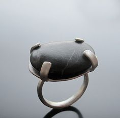 awesome Black Pebble Ring - Handmade jewelry, Χειροπο...