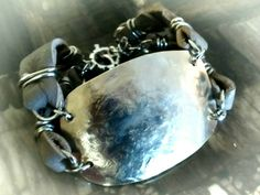 Vintage Silver Bracelet with leather strapping