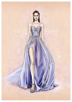 """""""Elie Saab"""" A new illustration with another beautiful Elie Saab Spring summer 2014 dress. Done in paper and painted in photoshop cs5. 2014"""