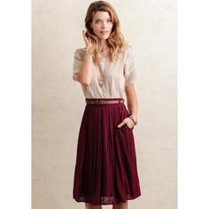 Ruche Day Book Pleated Midi Skirt In Burgundy ($59) ❤ liked on Polyvore featuring skirts, burgundy, pink skirt, mid-calf skirt, rayon skirt, calf length skirts and box pleat midi skirt