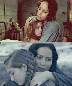 Hunger Games: Catching Fire #JennferLawrence #Katniss #Primrose. How I hug my baby sis Leah