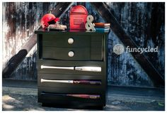 BASEBALL DRESSER: Too Cute for a YOUNG BOYS ROOM (with a DAD WHO IS A BASEBALL FAN!): Painted with BM Super Spec DTM Acrylic Low Lustre in Black P25-80. She gives DIRECTIONS on how to attach the Baseball Bats and Baseballs to the Furniture.
