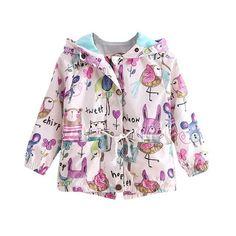 3dccf5821 Kids Girls Fleece Lined Zipper Sweatshirt Cartoon Cute Owl Casual ...