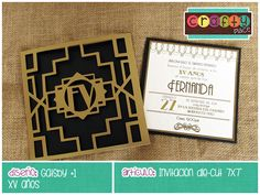 Invitación die-cut de Gatsby - XV años… Podemos personalizarla con cualquier tema! • Gatsby die-cut invitation - Sweet 16... We can personalize it with any party theme!