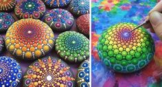 Elspeth McLean finds these perfect amazing round stones on the beach. She then paints intuitive individual mandalas to create stunning little jewel like treasures. This calendar features some of Elspeth& photography starring the Mandala Stones. Mandala Art, Mandalas Painting, Mandalas Drawing, Mandala Rocks, Stone Mandala, Pebble Painting, Dot Painting, Pebble Art, Stone Painting
