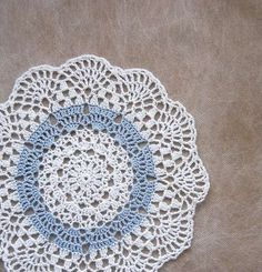 Blue Ice Crochet Lace Doily, Paris Bedroom, French Country Decor. Exclusive Design by Rose Anne at NutmegCottage on Etsy