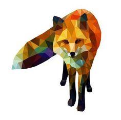 Watercolour tone, geometric shapes, fox