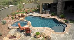 Modern swimming pool design does not constantly mean that a pool was built lately or has all of one of the most high-tech features as well as materials. Modern pool design go back to California in the Inground Pool Designs, Backyard Pool Designs, Small Backyard Pools, Swimming Pool Designs, Outdoor Pool, Backyard Ideas, Backyard Patio, Pools Inground, Small Inground Pool