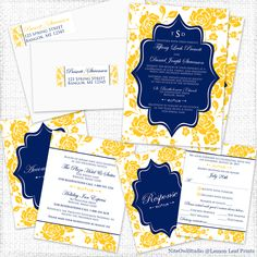 Monogrammed navy blue, yellow, and white floral wedding suite.