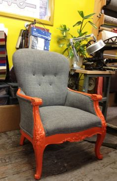 Orange and grey reupholstered chair by Revive