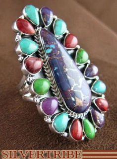 Multicolor Stone and Genuine Sterling Silver Ring