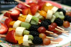 Fruit on a stick. Perfect for a kids birthday party snack!