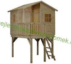 Dětský dřevěný zahradní domek s terasou MIA II - 1,8 x 1,4m, zvednutý