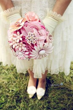 silk and brooch bouquet